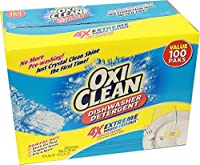 OxiClean Dishwasher Detergent - 4X Extreme Power Dishwashing Crystals, 100 Counts (2 Pouches X 50 Ct.)