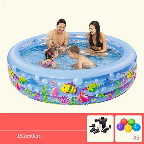 Dickes PVC Familie Erwachsene Kind Schwimmen falten Aufblasbar Kreisförmig Meeresfisch Muster Schwimmbad 152 * 50 cm Geeignet für 3-4 Personen Kostenloses Geschenk