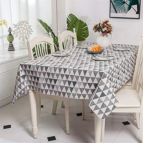 MENGMENGDA Lin Polyester Imitation Lin Nappe Triangulaire Gris Blanc Style Nordique Cactus Impression Lin Nappe Coton Nappe Couverture Serviette Nappe De Restaurant, 100 * 140Cm