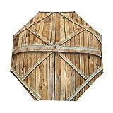 DUILLY Ombrello automatico apri/chiudi,Stampa della plancia della porta in legno rustico,Ombrello pieghevole pieghevole antivento, impermeabile, ad asciugatura rapida, leggero e compatto