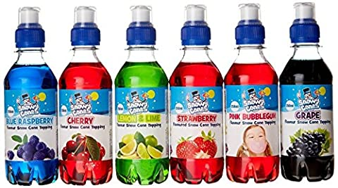 Snowycones Mixed Flavour Syrups Strawberry/Lemon and Lime/Blue Raspberry/Cherry/Grape/Pink Bubblegum 250 ml (Pack of