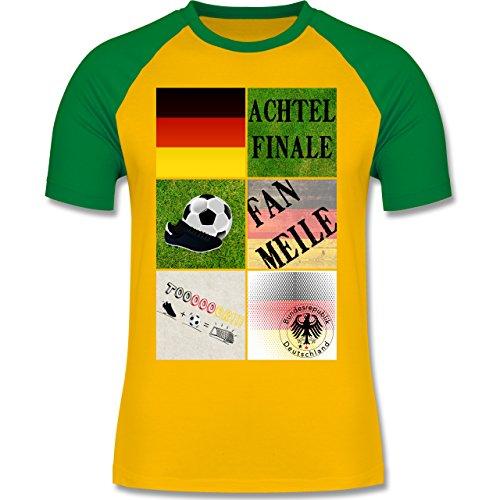 EM 2016 - Frankreich - Deutschland Achtelfinale Fan Shirt - zweifarbiges  Baseballshirt für Männer Gelb/