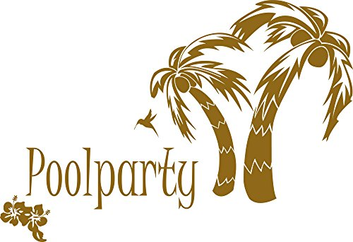 Wandaufkleber Tattoo Poolparty Palmen Blumen