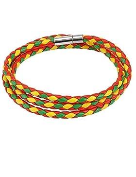Paula & Fritz® Armband Leder Schnur Multi Grün gewebt und gedreht gelb grün ro...