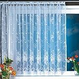 1er-Pack Gardine, weiß Vorhang aus hochwertigem Jacquardstore mit transparentem Oberstoff Bogengardine,#1, B/H 300/245cm