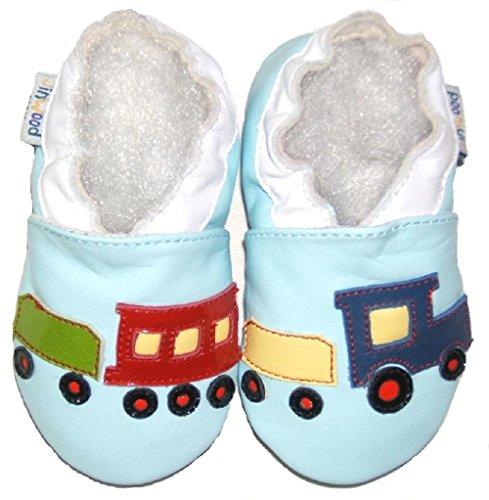 Lederhausschuhe Jinwood Krabbelschuhe Baby Hausschuhe Eisenbahn