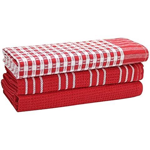 Classic Strofinacci da cucina, 100% cotone naturale, il miglior strofinacci, assorbente, non lascia pelucchi, lavabile in lavatrice, 45x 65cm, 3pezzi, colore: bianco con strisce Rosso