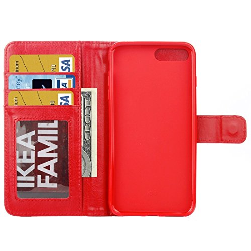 Hülle für iPhone 7 plus , Schutzhülle Für iPhone 7 Plus Trennbare Crazy Horse Texture Zipper Wallet Style Flip Leder Tasche ,hülle für iPhone 7 plus , case for iphone 7 plus ( Color : Pink ) Red