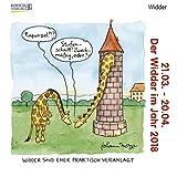 Widder Mini 2018: Sternzeichenkalender-Cartoon - Minikalender im praktischen quadratischen Format 10 x 10 cm.