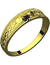 14K Gold Plated Silver Claddagh Ring, Amethyst CZ Stone