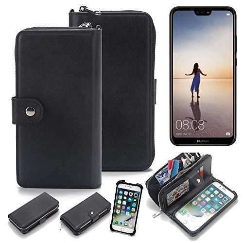 K-S-Trade 2in1 Handyhülle für Huawei P20 Lite Single-SIM Schutzhülle & Portemonnee Schutzhülle Tasche Handytasche Case Etui Geldbörse Wallet Bookstyle Hülle schwarz (1x)