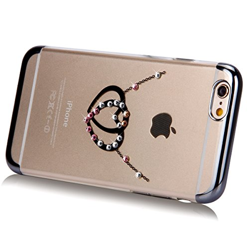 iPhone 6S Plus Hülle,iPhone 6 Plus Hülle,SainCat Glitzer Silikon Schutz HandyHülle für iPhone 6 Plus/6S Plus Silikon Hülle Gold Muster Tasche Handyhülle Bling Glänzend Glitzer Strass Kristall Diamant  Schwarz-Dual-Liebe