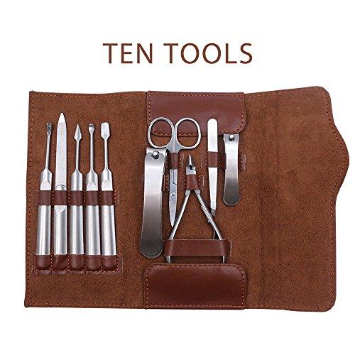 Kit de manucure et pédicure Soins pour hommes 10 en 1 Ensemble de ciseaux à ongles en acier inoxydable avec cuir étui de transport