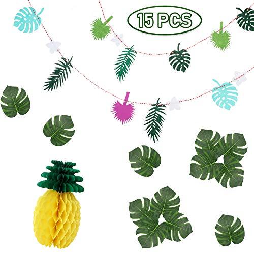 Ucradle Tropische Party Dekoration, (15 Stücke) Hawaii Tropischen Flamingo Banner, Künstliche Palmblätter, Ananas Wabenball, Foto Requisiten Zubehör Geburtstagsfeier Raumdekoration Garten Party Deko