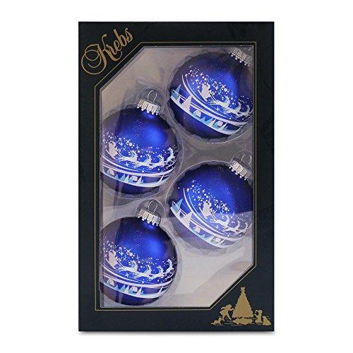 Krebs Glas Lauscha - Set mit 4 Christbaumkugeln in Blau und Weiß - Santa über Dorf - Größe ca. 7 cm