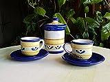 Tazzine da caffè con piattino e zuccheriera in ceramica siciliana decorate a mano. Set da caffè. Le ceramiche di Ketty Messina.