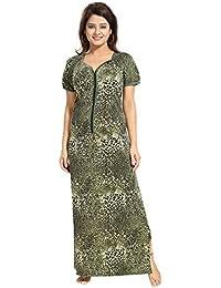 """Tucute Tiger Print Nighty / Night gown / Nightwear / Nightdress with 16"""" Long Zip."""