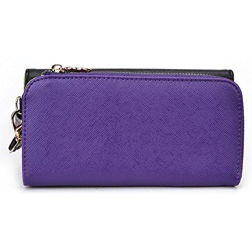 Kroo d'embrayage portefeuille avec dragonne et sangle bandoulière pour Samsung Galaxy Grand 2 Black and Orange Black and Purple
