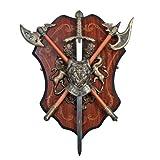 Wandschild mit Robin Hood Schwert und 2 Äxten