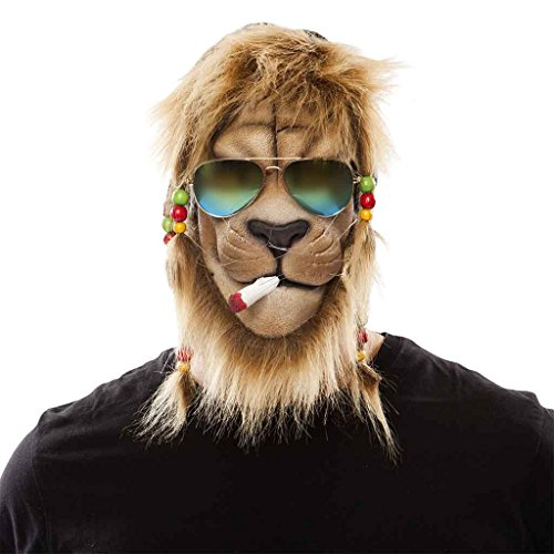 Löwe Raggae Maske Herrenkostüm (König Bob Kostüm)