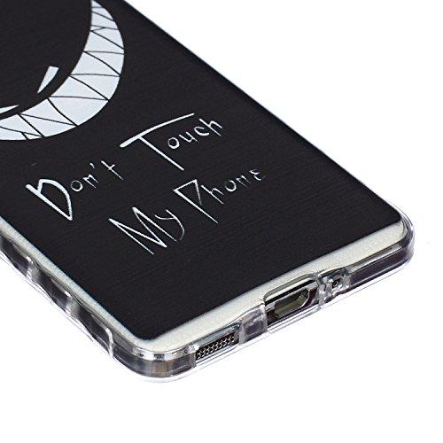 Ekakashop Coque pour Samsung Galaxy Alpha SM-G850F, Ultra Slim-Fit Flexible Souple Housse Etui Back Case Cas en Silicone pour Galaxy Alpha SM-G850F, Soft Cristal Clair TPU Gel imprimée Couverture Bump Sourire Sinister
