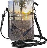 Borsa a tracolla piccola per cellulare da donna, spiaggia paradisiaca con amaca e palme da cocco Horizon Coast Vacation Scenario