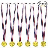 Alintor 24 Piezas Plástico Winner Medallas, Competencia de Deportes de Niños Medallas Doradas, 1.4 inch