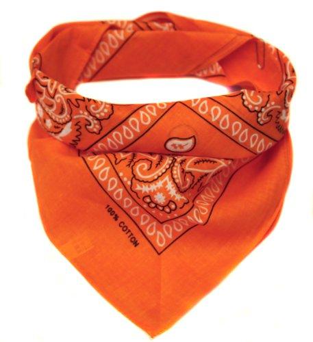 Bandana Kopftuch Halstuch gemustert in 24 verschiedenen Farben! (orange)