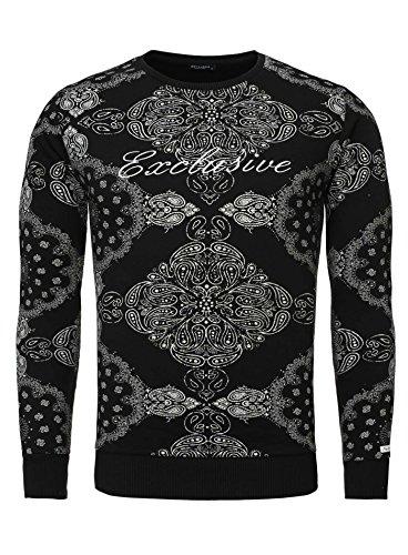 Key Largo Herren Pullover Sweatshirt IMPERIAL Paisleymuster Bandana Exclusive Langarm schwarz (Gangster Look)