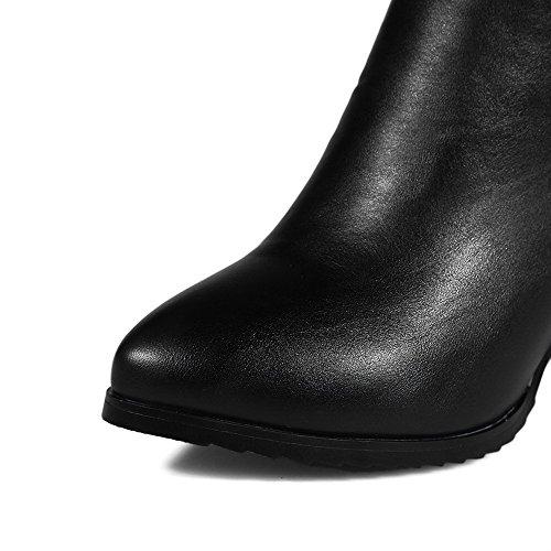 VogueZone009 Damen Blend-Materialien Spitz Zehe Hoher Absatz Stiefel BlackSchwarz-Pu Leder(Anhänger)