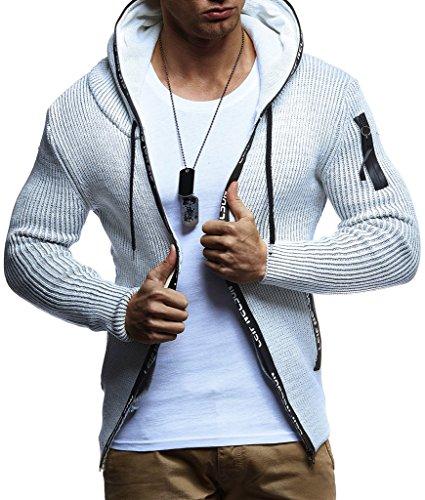 Preisvergleich Produktbild LEIF NELSON Herren Strick-Jacke mit Reißverschluss | Casual Strick-Hoodie Lang Slim Fit | Männer Strick-Cardigan Langarm Kleidung Männer