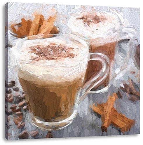Pixxprint heiße Schokolade und frischer Kaffee mit Streuseln, Format: 60x60 auf Leinwand -
