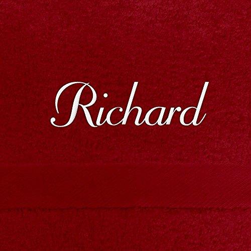 Handtuch mit Namen Richard bestickt, 50x100 cm, rot, extra flauschige 550 g/qm Baumwolle (100%), Badetuch mit Namen besticken, Duschtuch mit Bestickung