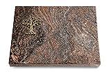 MEMORUM Grabmale Grabtafel, Grabplatte, Grabstein, Grabkissen, Urnengrabstein, Liegegrabstein Modell Pure 40 x 30 x 3-4 cm Paradiso-Granit, Poliert inkl. Gravur (Bronze-Ornament Baum 2)