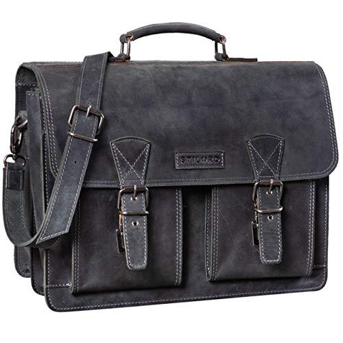 STILORD 'Jeffrey' Lehrertasche Aktentasche Leder Große Vintage Ledertasche zum Umhängen 15.6 Zoll Laptop Tasche für Schule Uni Business Trolley Aufsteckbar, Farbe:anthrazit -