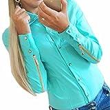 QIYUN.Z Les Femmes Ol Zipper Manches Longues Mode Revers Chemises Blouse Tops Simples Boutonnage