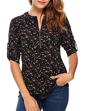 Angvns Camisa Mujer Gasa Cremallera Manga Larga Casual Mangas ajustables Top Multicolor