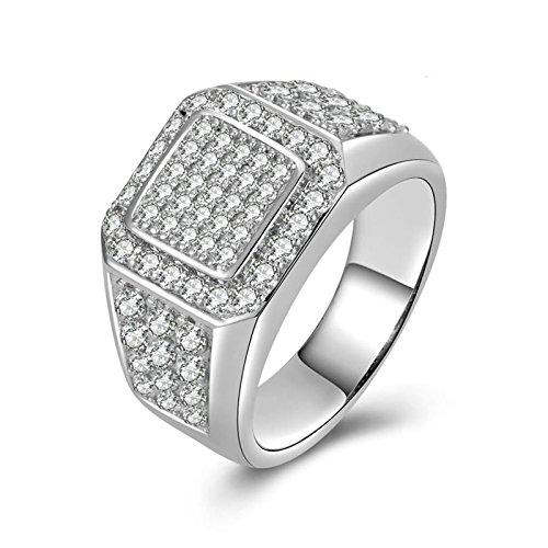 SonMo Ring Silber 925 Verlobungsring Hochzeit Ring Eheringe Solitär Ring Silber Weiß Ringe Diamant Zirkonia Ring Damen Größe 60 (19.1)