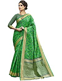 [Sponsored]Shangrila Women's Green Colour Pochampally Woven Silk Saree With Stitched Free Size Blouse