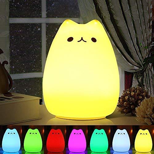 Veilleuse LED , Omitium LED Chat Veilleuse Silicone Veilleuse de Bébé Portable Enfant Veilleuse avec 7 Couleurs de Nuit Lampe de Chevet USB Rechargeable Veilleuse