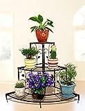 #6: Black Floral Design Metal Step Style 3 Tier Corner Shelf For Flower Pots, Planters Display Stand / Shoe Rack