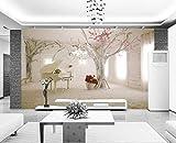 WH-PORP 3D Tapete Benutzerdefinierte Wandbild Non-Woven 3D Zimmer Tapete 3D Romantische Traum Klavier Tv Einstellung Wand Baum Fototapete Für Wände 3D-200cmX140cm