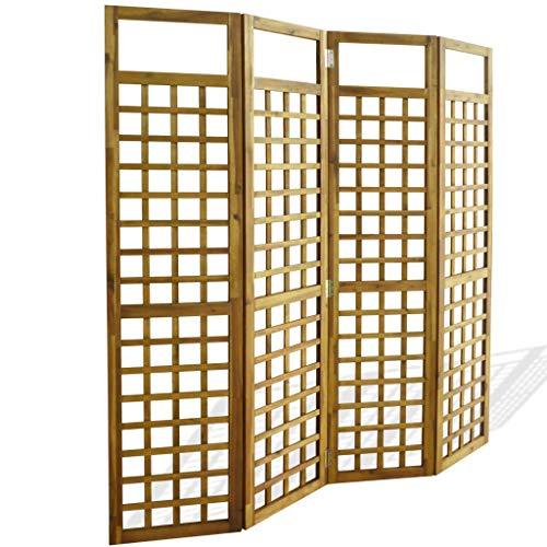 VidaXL Acacia Biombo Enrejado 4 Paneles Madera 160x170cm