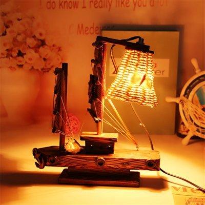 Stimmung Lampe Beleuchtung Dekorative Lampe pastoralen Stil Retro Holz Schlafzimmer Nachttischlampe Kiefer Dekoration aus hellem Holz Ornamente, B, 26 * 23 cm -