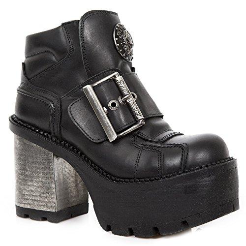 New Rock M.SEVE08-S1 Schuhe Stiefeletten Damen Mädchen Leder Schwarz Ferse Punk Heavy Gotik