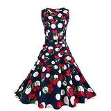 TEBAISE Sommer Frauen Konzert Formellen Anzug Vintage Druck Bodycon Sleeveless beiläufige Abendgesellschaft Prom Swing Kleid Geschichteten Rock(Dunkelblau2,EU-38/CN-L)