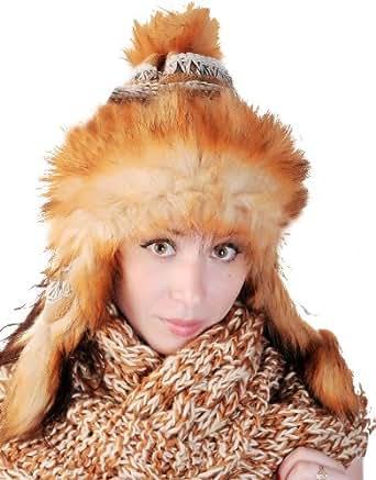 Kuschelige BRUBAKER Tschapka Volumenmütze Fellmütze aus Grobstrick im Norweger Style - Mit kuscheligem Fleece Innenfutter - Neu Herbst Winter 2012/2013 in Braun