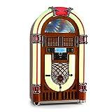 Ricatech RR2100 • Jukebox • Musikbox • Musikanlage • 50er Jahre Design • LED Beleuchtung • Bluetooth • CD-Player • Radio • USB • SD-Kartenslot • programmierbar • Equalizer • Fernbedienung • braun