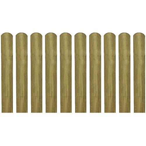 Queues pour clôture 10 pièces 60 cm bois imprégné. Ces queues pour clôture formeront une barrière de protection pour votre jardin, Patio ou terrasse