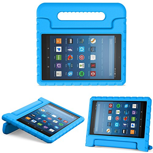 MoKo Hülle für All-New Amazon Fire HD 8 Tablet (7th & 8th Generation - 2017 & 2018 Modell) - Superleicht Eva Kids Shock Proof Cover Stoßfest Kindgerechte Schutzhülle, Blau - Fire Cover Für Den Kindle Hd